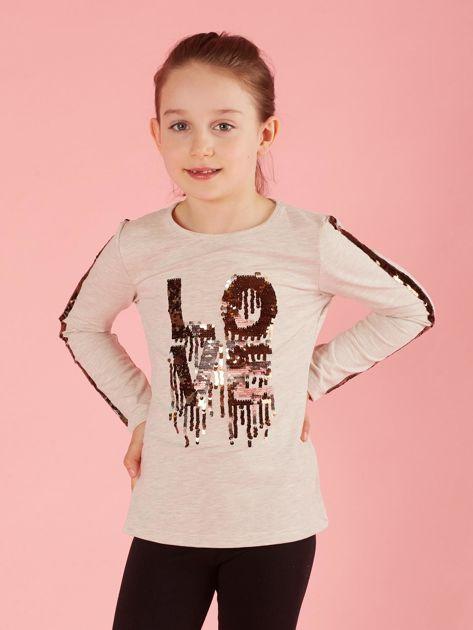 Beżowa bluzka dziecięca z cekinami                              zdj.                              1