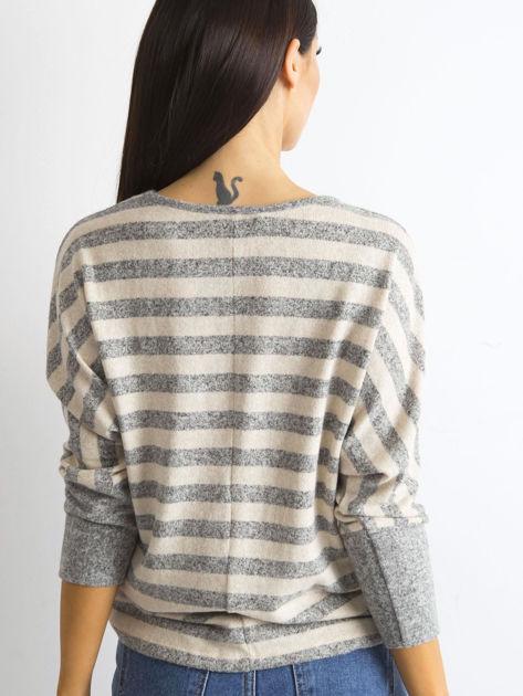 Beżowa bluzka w paski                              zdj.                              2