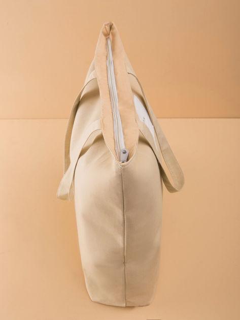 Beżowa duża uniwersalna torba                              zdj.                              3