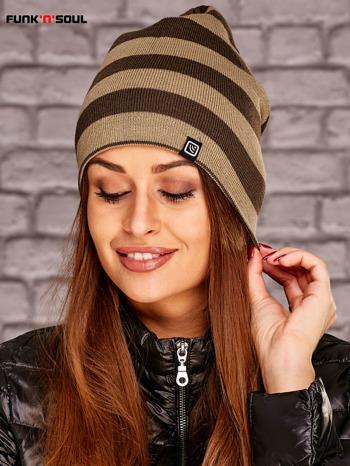 Beżowa dwustronna czapka w paski FUNK N SOUL                              zdj.                              1