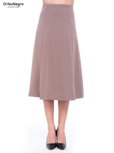 Beżowa elegancka spódnica midi o rozkloszowanym kroju                                  zdj.                                  1