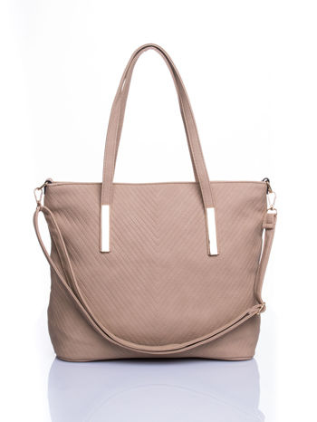 Beżowa fakturowana torba shopper bag
