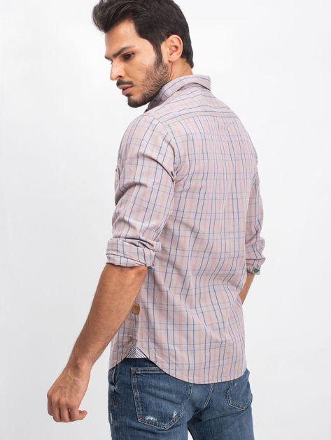 Beżowa koszula męska Casual                              zdj.                              3