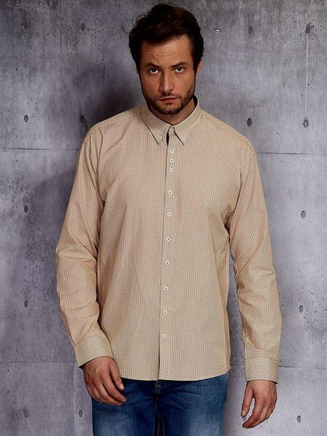 Beżowa koszula męska w drobną kratkę PLUS SIZE                              zdj.                              1