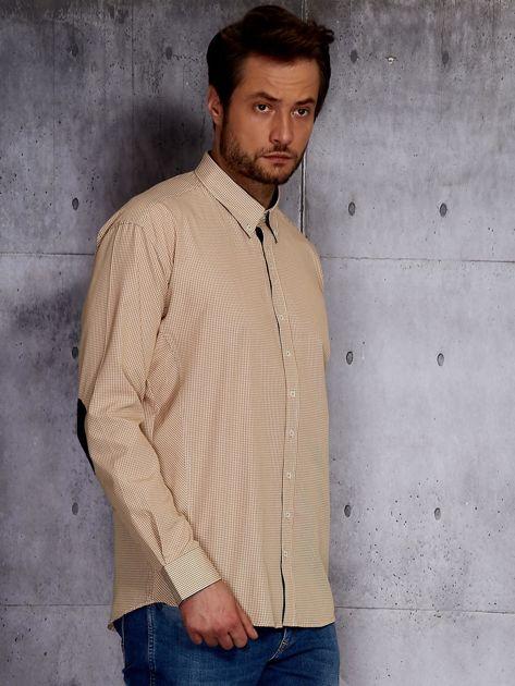 Beżowa koszula męska w drobną kratkę PLUS SIZE                              zdj.                              5