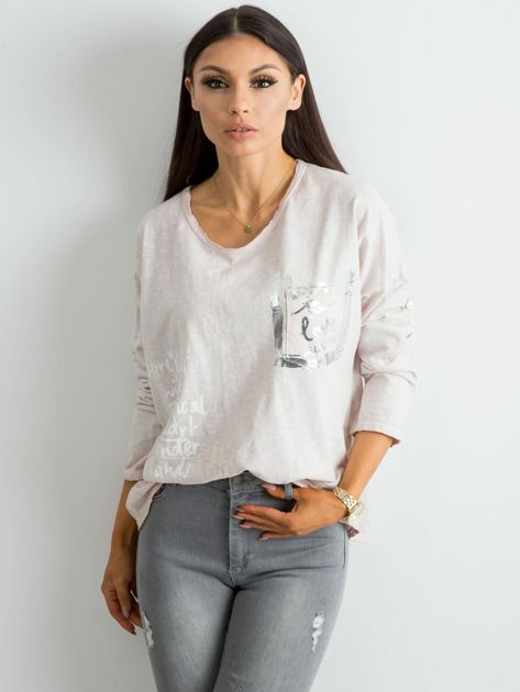 Beżowa luźna bluzka damska                              zdj.                              1