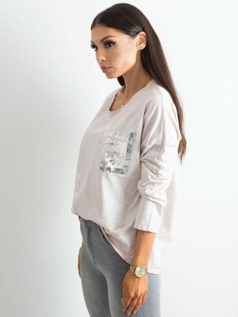 Beżowa luźna bluzka damska                              zdj.                              3