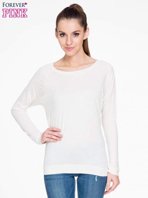 Beżowa melanżowa bawełniana bluzka z rękawami typu reglan