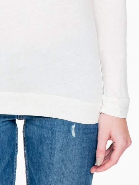 Beżowa melanżowa bawełniana bluzka z rękawami typu reglan                                  zdj.                                  6