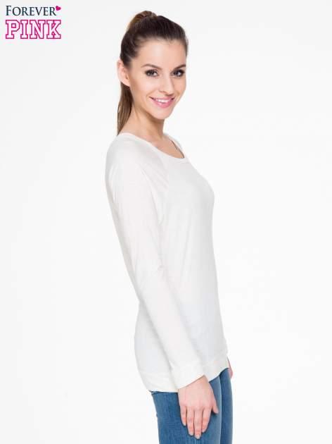 Beżowa melanżowa bawełniana bluzka z rękawami typu reglan                                  zdj.                                  3