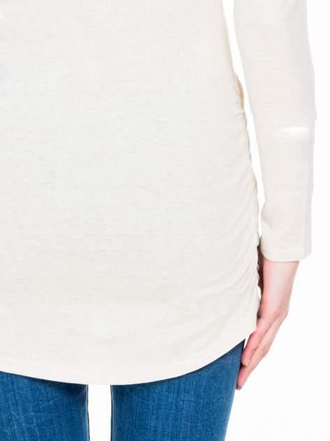 Beżowa melanżowa bluzka tunika z marszczonym dołem                                  zdj.                                  8
