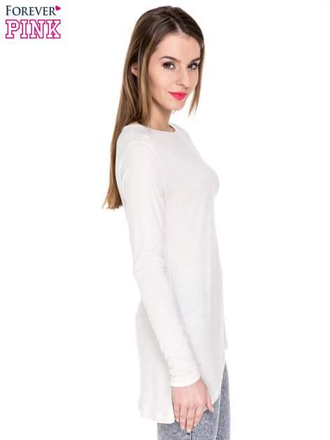 Beżowa melanżowa bluzka z dłuższym tyłem                                  zdj.                                  3