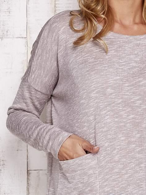 Beżowa melanżowa bluzka z kieszeniami                                  zdj.                                  5