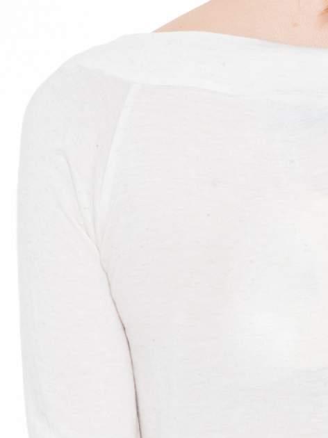 Beżowa melanżowa gładka bluzka z reglanowymi rękawami                                  zdj.                                  7