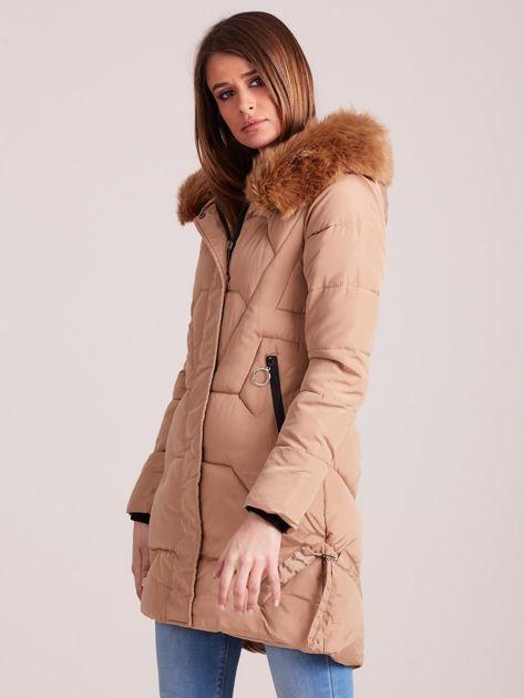 Beżowa pikowana kurtka na zimę                              zdj.                              3