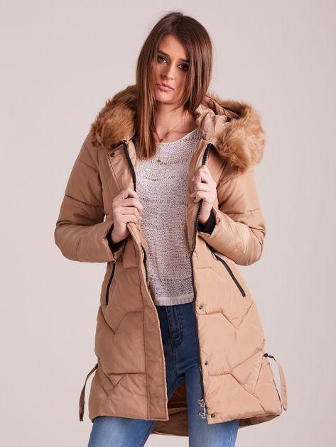 Beżowa pikowana kurtka na zimę                              zdj.                              6