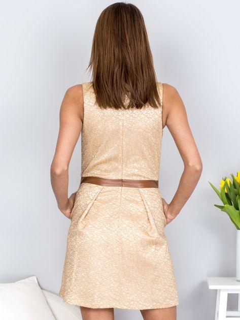 Beżowa rozkloszowana sukienka ze skórzanymi wstawkami                              zdj.                              2