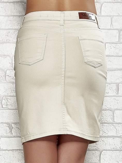 Beżowa spódnica z zapięciem na guzik                                  zdj.                                  6