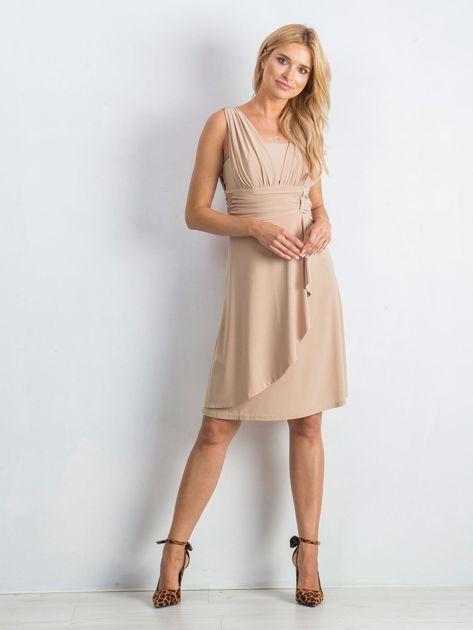 Beżowa sukienka Decorative                              zdj.                              4