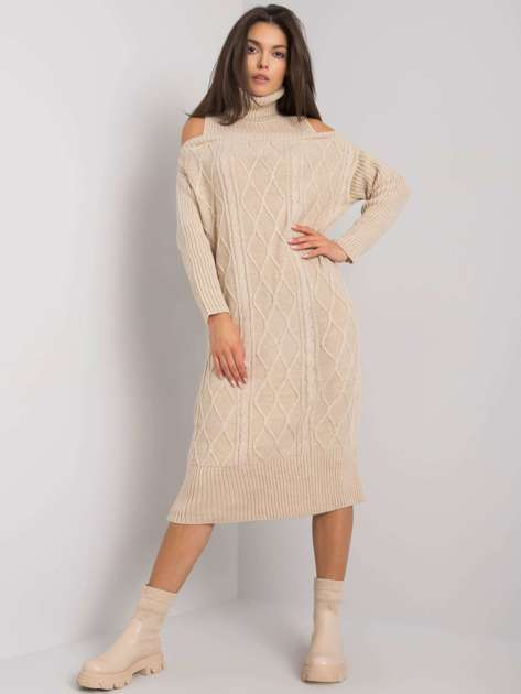 Beżowa sukienka dzianinowa Fernanda RUE PARIS