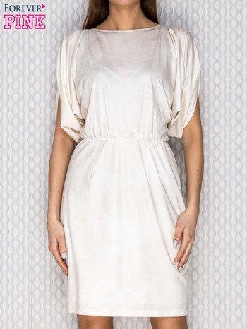 Beżowa sukienka koktajlowa z szerokimi rękawami PLUS SIZE                              zdj.                              1