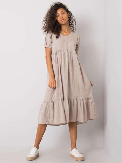 Beżowa sukienka z falbaną Eseld OCH BELLA