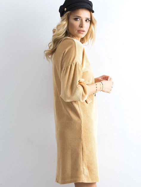 Beżowa sztruksowa sukienka                              zdj.                              3