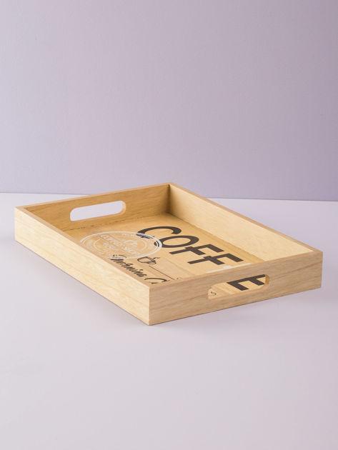 Beżowa taca drewniana z napisem                              zdj.                              2