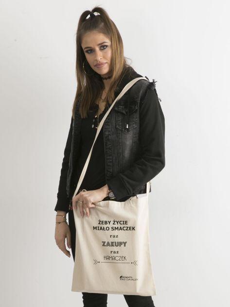 Beżowa torba ekologiczna z bawełny z napisem                              zdj.                              3