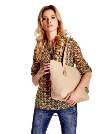 Beżowa torba na ramię ze złotym emblematem                                  zdj.                                  1