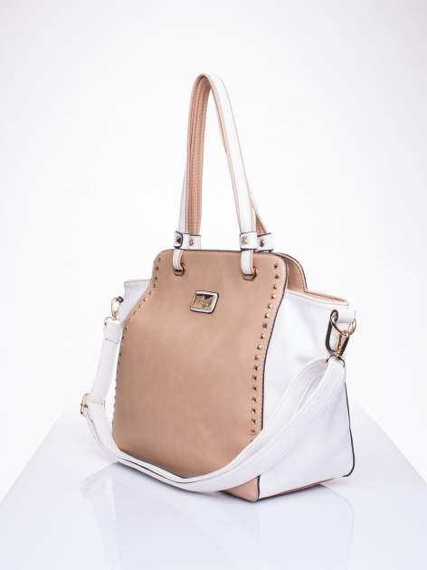 Beżowa torba shopper bag z ozdobnymi ćwiekami                                  zdj.                                  3