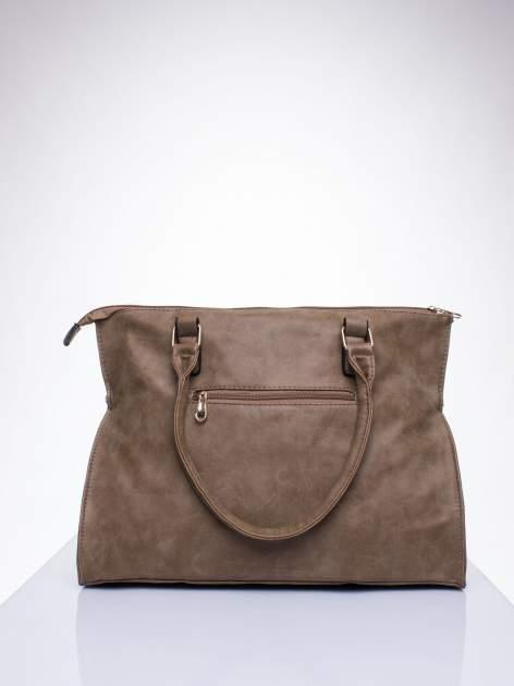 Beżowa torba shopper bag ze złotymi ćwiekami                                  zdj.                                  3