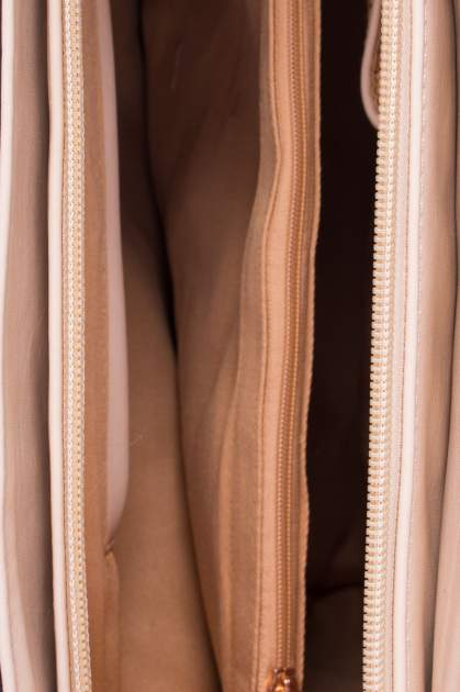 Beżowa torba shopper ze stębnowaniem                                  zdj.                                  4