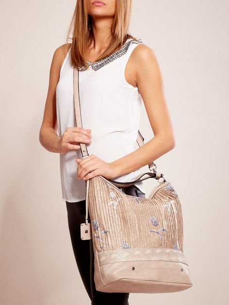Beżowa torba z łączonych materiałów w stylu japońskim                              zdj.                              1