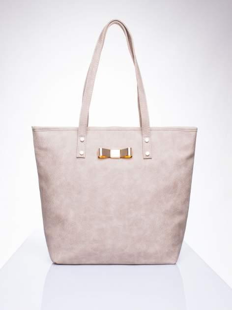 Beżowa torebka shopper bag z kokardką