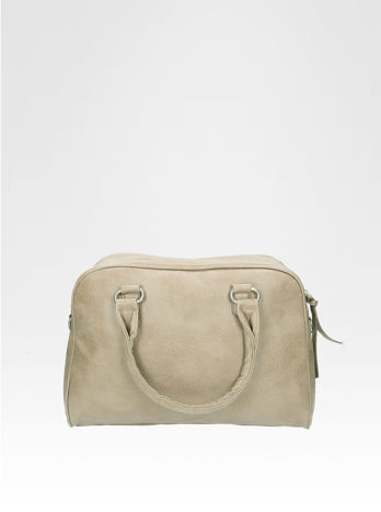 Beżowa torebka typu miękki kuferek z dodatkowym paskiem                                  zdj.                                  1