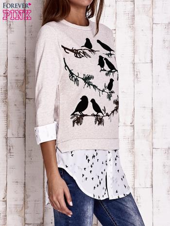 Beżowa warstwowa bluza z motywem ptaków                                  zdj.                                  3