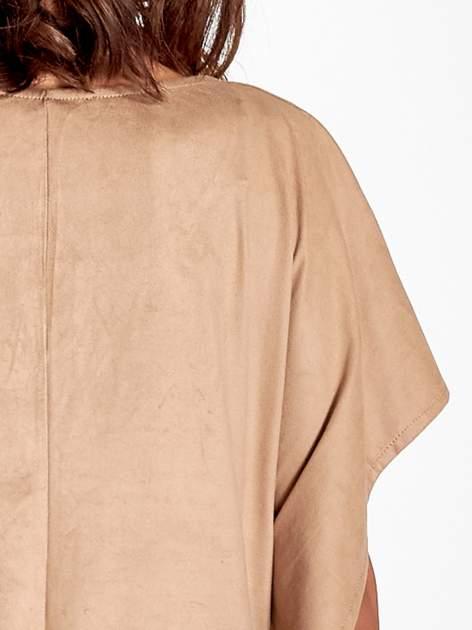 Beżowa zamszowa bluzka z haftem w stylu boho                                  zdj.                                  7