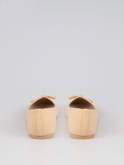 Beżowe baleriny faux leather Sunny z kokardką                                  zdj.                                  3