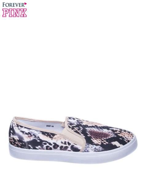 Beżowe buty slip on we wzór animal print                                  zdj.                                  1