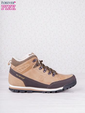 Beżowe buty sportowe eco leather Trip z brązowymi skórzanymi wstawkami                                  zdj.                                  1