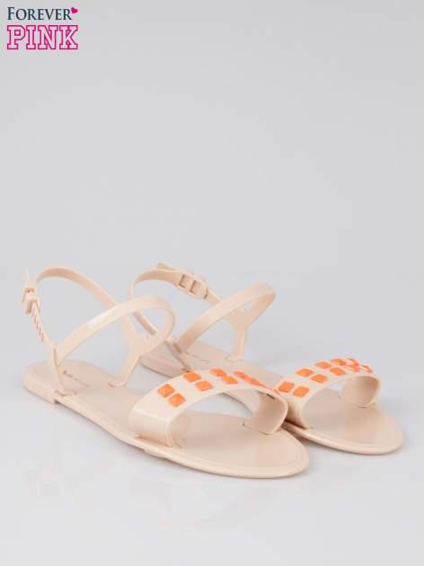 Beżowe gumowe sandały meliski Julissa z dżetami                                  zdj.                                  2