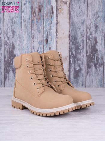 Beżowe jednolite buty trekkingowe Elyia damskie traperki ocieplane                                  zdj.                                  2
