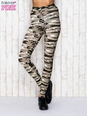 Beżowe legginsy z motywem militarnym                                  zdj.                                  1