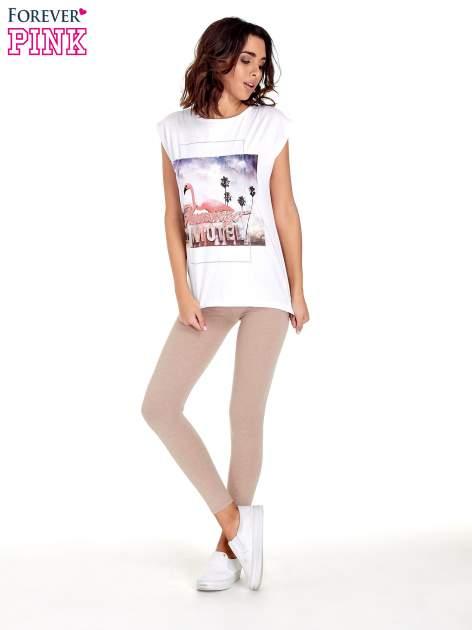 Beżowe melanżowe legginsy damskie basic                                  zdj.                                  2