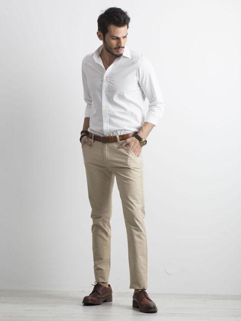 Beżowe męskie spodnie chino                              zdj.                              4