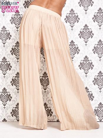 Beżowe plisowane spodnie palazzo                                   zdj.                                  3