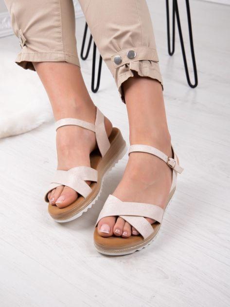 Beżowe sandały BELLO STAR na podwyższeniu z paskami na krzyż                              zdj.                              3