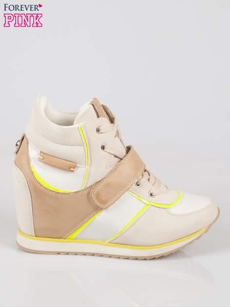 Beżowe sneakersy damskie w stylu casual                                  zdj.                                  1