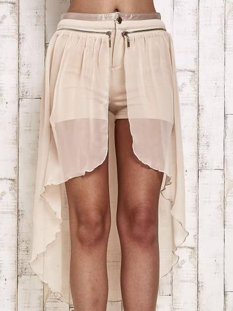 Beżowe spódnicospodnie z tiulowym trenem                                  zdj.                                  1